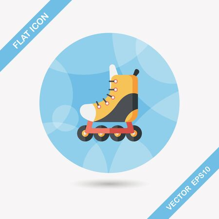 casters: roller skates flat icon with long shadow,eps10