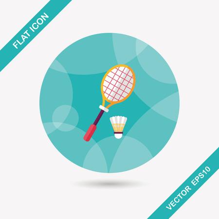 badminton racket: badminton racket and ball flat icon with long shadow,eps10 Illustration