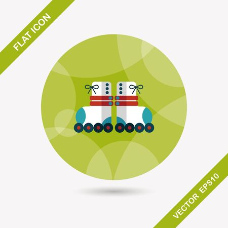 roller skates: Roller skates flat icon with long shadow,eps10