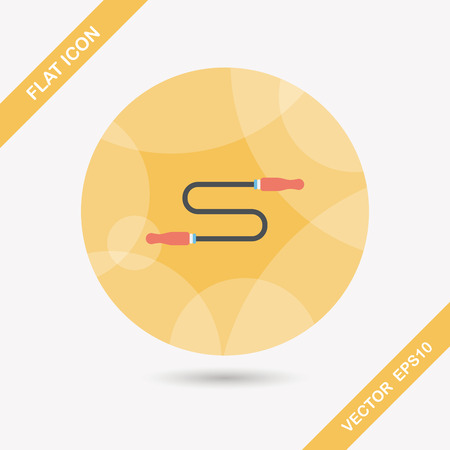 Skipping rope flat icon with long shadow Vector