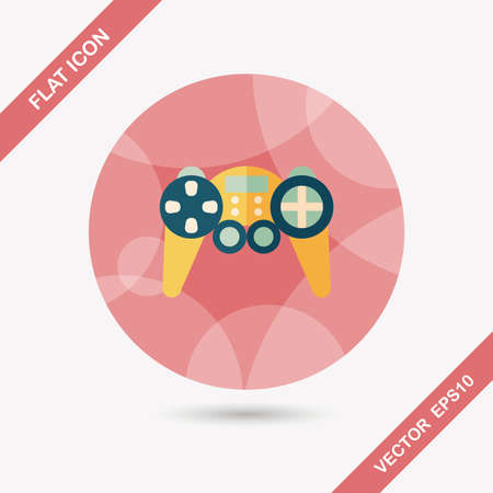 Game controller flat icon with long shadow,eps10 Vector
