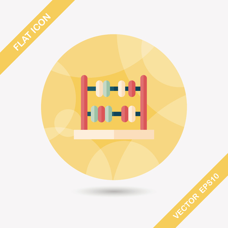subtract: abacus calculation flat icon with long shadow,eps10