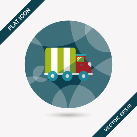 fast driving: Transportation truck flat icon with long shadow,eps10 Illustration