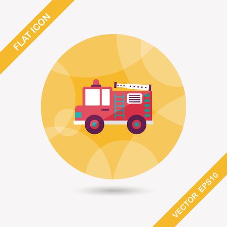coche de bomberos: Icono plana Transporte Coche de bomberos con una larga sombra, eps10 Vectores