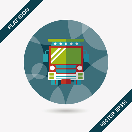 schoolbus: Transportation school bus flat icon with long shadow,eps10 Illustration