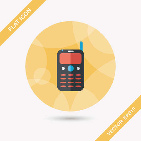 gsm: Mobile phone flat icon with long shadow,eps10