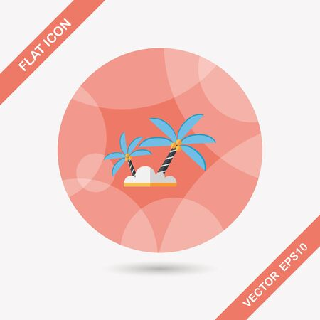 Palm tree flat icon with long shadow,eps10
