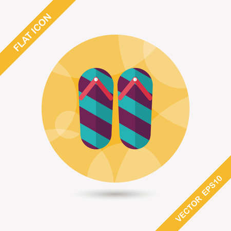 flop: flip flop flat icon with long shadow,eps10