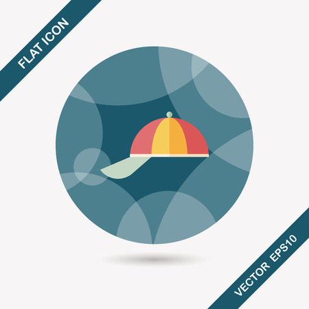 pinstripes: Peaked cap flat icon with long shadow,eps10 Illustration