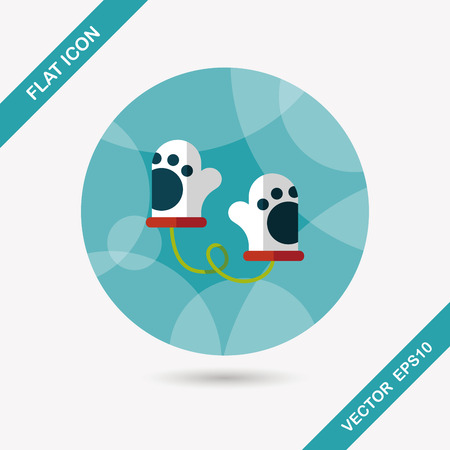 babyish: baby Gloves flat icon with long shadow,eps10