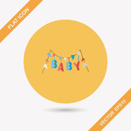 Icono plana del partido del bebé con una larga sombra
