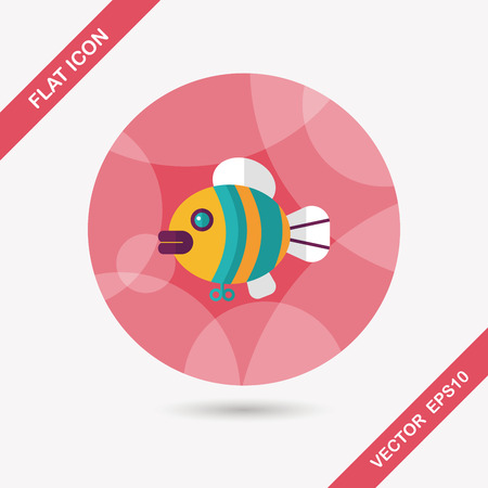 angling: fish toy flat icon with long shadow Illustration