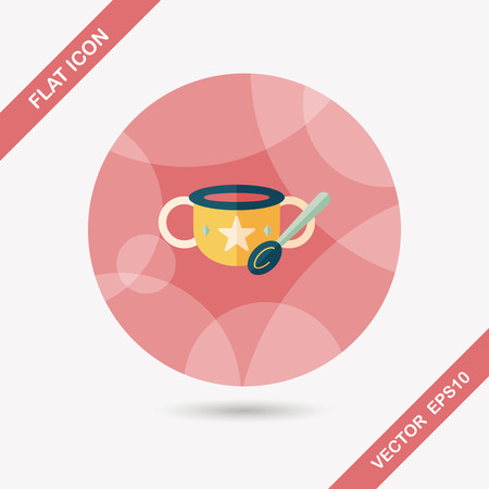 lactic: baby food bowl flat icon with long shadow