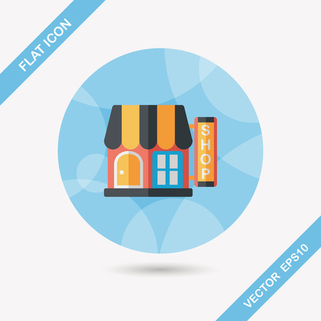 fashion building: Building shop store flat icon with long shadow