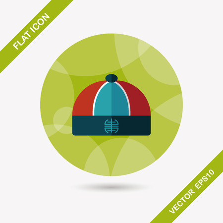 chinese hat: Chinese hat flat icon with long shadow
