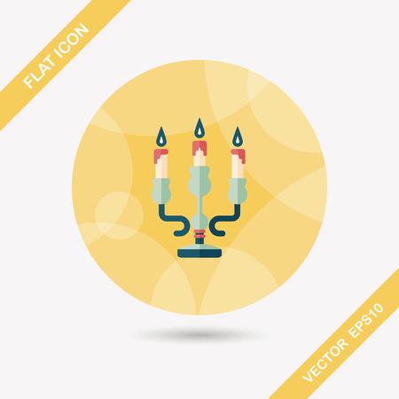 adventskranz: Weihnachtskerze Flach Symbol mit langen Schatten