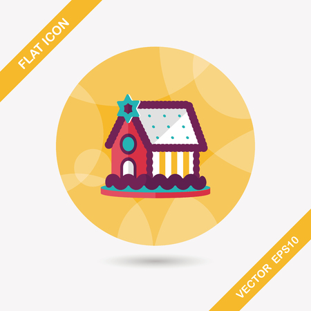 extravagant: Gingerbread house flat icon with long shadow