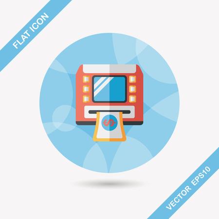 Icono plana ATM con una larga sombra, eps10 Foto de archivo - 35928438