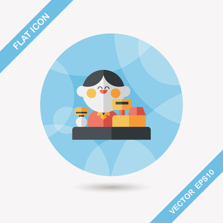 salesperson: shopkeeper flat icon with long shadow