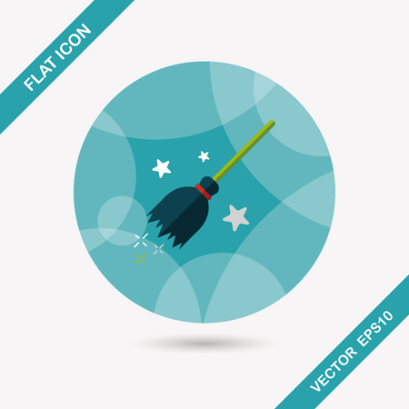 broom handle: Witch broom flat icon with long shadow