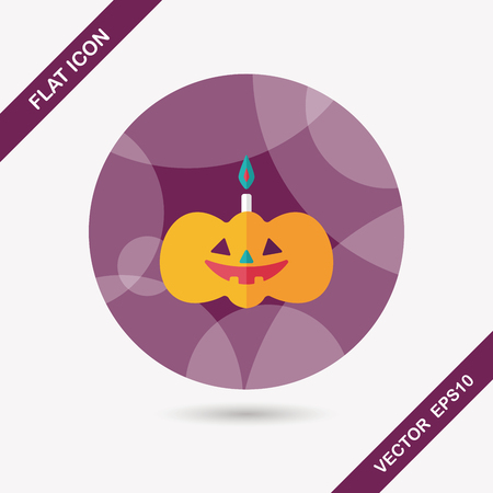 pumpkin candle flat icon with long shadow,eps10 Vector