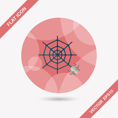 sacrifice: Halloween Spider flat icon with long shadow Illustration