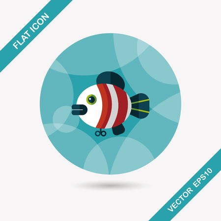 angling rod: fish toy flat icon with long shadow Illustration