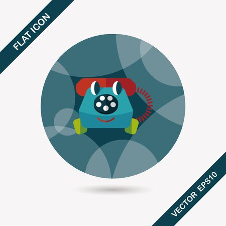 toy phone: toy phone flat icon with long shadow Illustration
