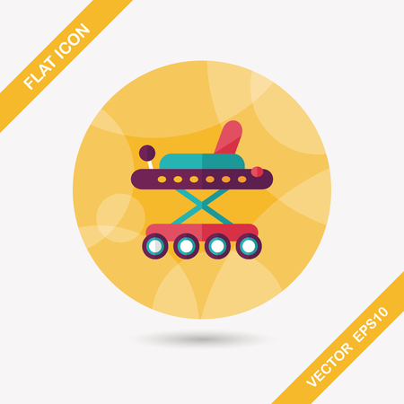 Baby walker flat icon with long shadow,eps10 Çizim