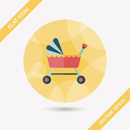 cosiness: baby cradle bed flat icon with long shadow Illustration