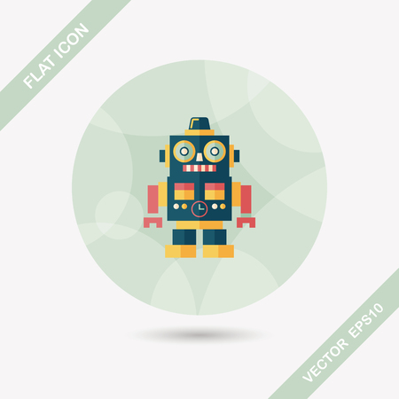 vintage robot flat icon with long shadow Vector