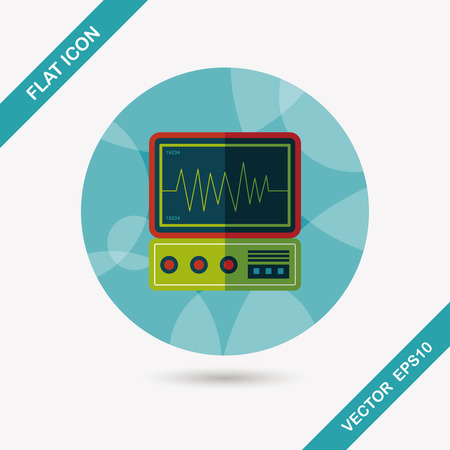 ecg monitoring: monitor in the ICU flat icon with long shadow