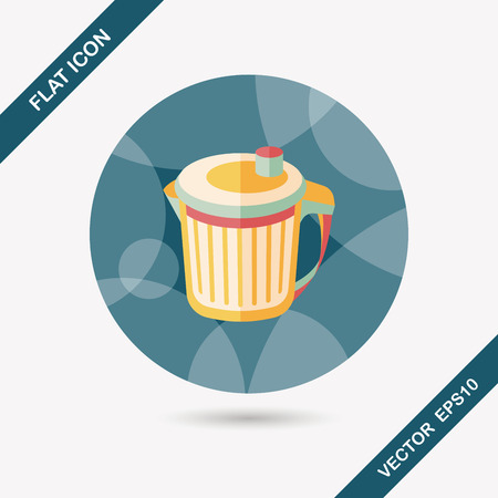 refuse: kitchenware garbage can flat icon with long shadow