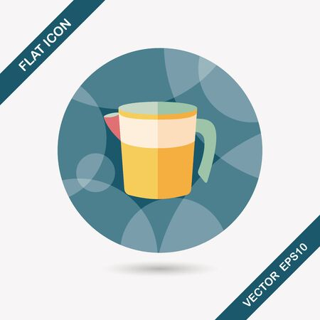 liter: kitchenware measuring cup flat icon with long shadow