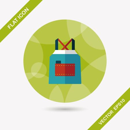 kitchen ware: kitchenware apron flat icon with long shadow,eps10