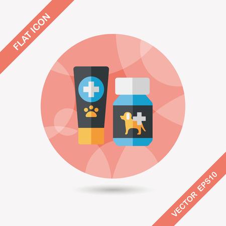 drug test: Pet drug flat icon with long shadow Illustration