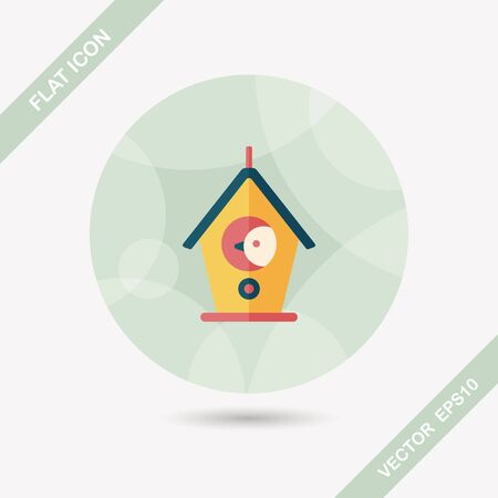 bird house: Pet bird house flat icon with long shadow Illustration