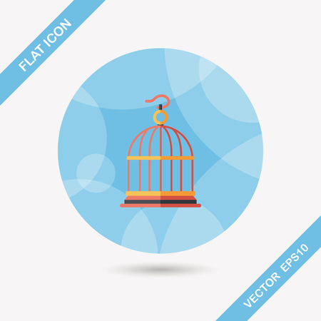 captured: Pet bird cage flat icon with long shadow