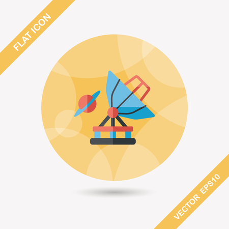 Space Telescope flat icon with long shadow Vector