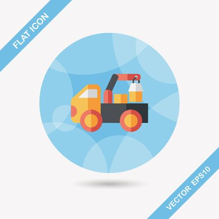 car loader: truck flat icon with long shadow