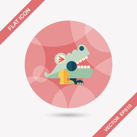 irate: crocodile toy flat icon with long shadow