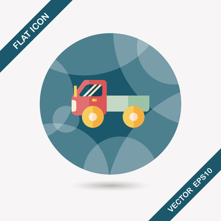 fast driving: Transportation truck flat icon with long shadow