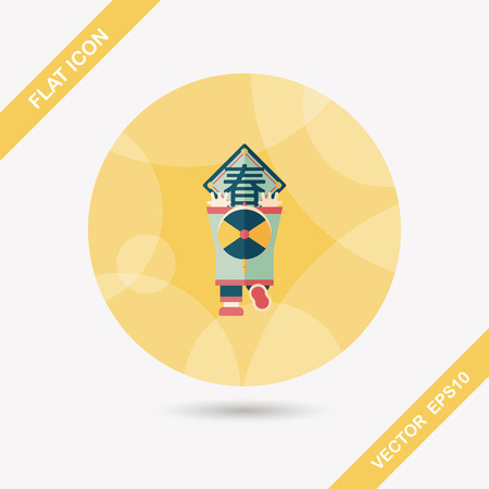 spring festival couplets: Chinese New Year flat icon with long shadow, the little boy to stick couplets, Chinese festival couplets means  wish Spring comes.