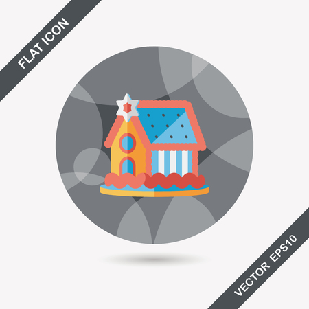 holiday villa: Gingerbread house flat icon with long shadow,eps10