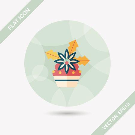 christmas cake: Christmas cake flat icon with long shadow