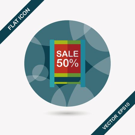 sale sign: shopping sale sign flag flat icon with long shadow