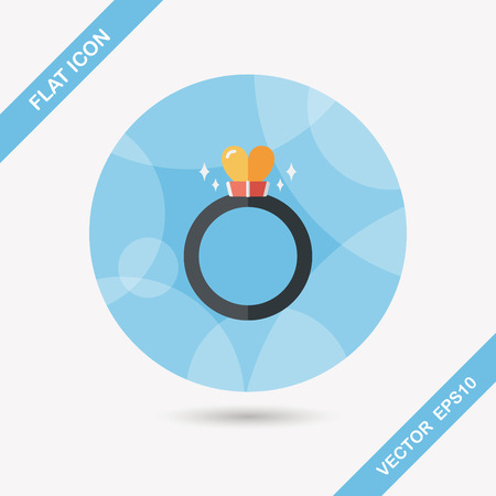 heart diamond: Valentines Day heart diamond ring flat icon with long shadow Illustration