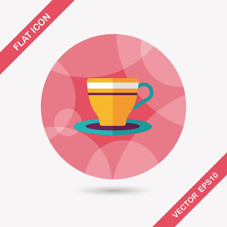 coffeecup: coffee cup flat icon with long shadow
