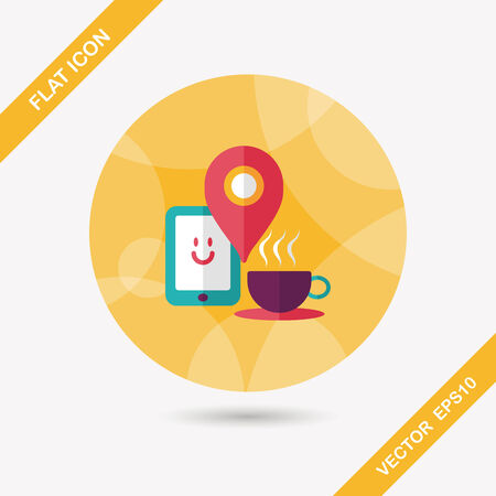 coffee flat icon with long shadow,  When you go to coffee shop, you can check into places and click the like button on social network.