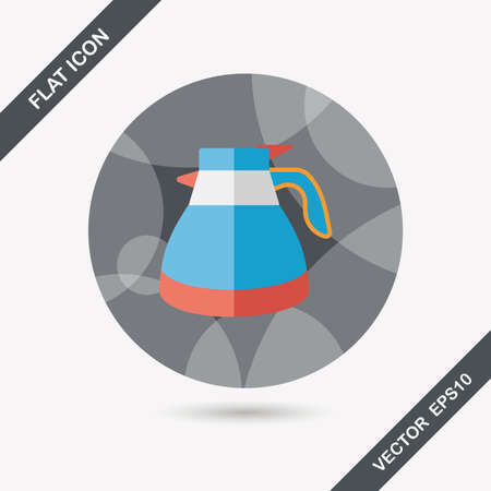 coffee kettle flat icon with long shadow Vector